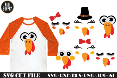Turkey Face Set SVG Cut File