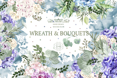 Hand Drawn  Watercolor Wreath&Bouquets