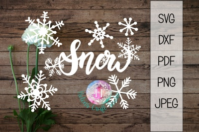 Snow snowflake SVG, DXF, png, jpeg and PDF file, christmas cutting fil