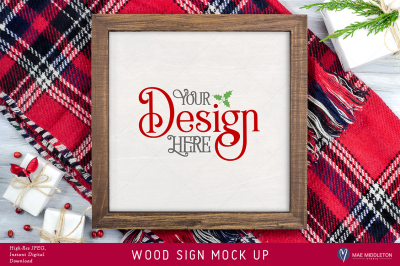 Framed wooden sign mock up for Christmas