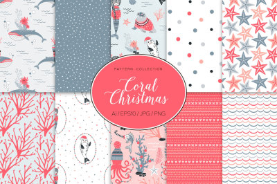 Coral Christmas pattern collection