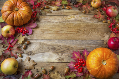 Frame of pumpkins, apples, acorns, berries and fall leaves on wooden b