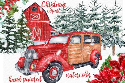 Watercolor Christmas Vintage Car clipart. CHRISTMAS RETRO CAR, Pine F