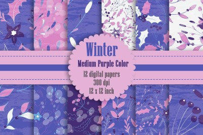 12 Winter Floral Digital Papers in Medium Purple Theme Color