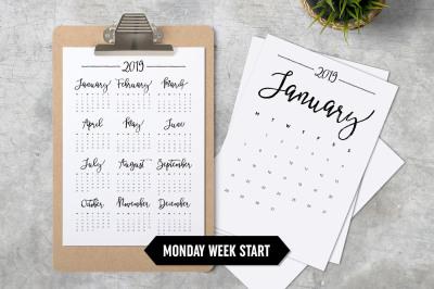 Calendar 2019 A4 Monday Week Start