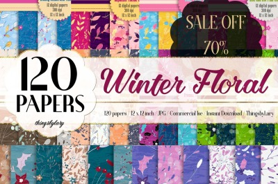 SALE OFF 120 Winter Floral Christmas Holiday Digital Papers