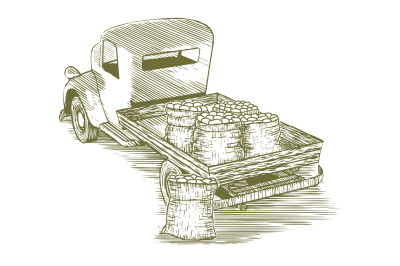 Woodcut Vintage Potato Truck