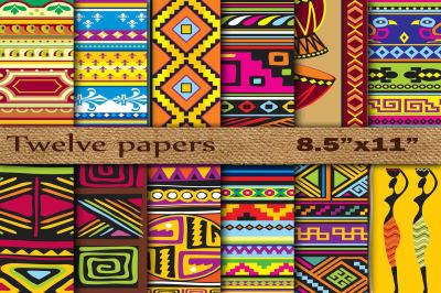 "Tribal Digital Papers 8x5""x11"""