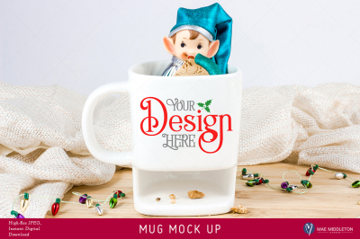 Christmas Mock Up - White Mug with Cookie Holder