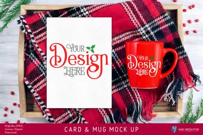 Christmas Mock Up Card, red mug - High res JPEG file