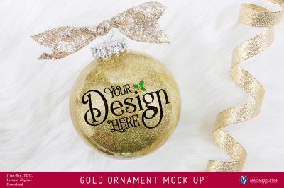 Gold Glitter Christmas or New Year Ornament Mock up
