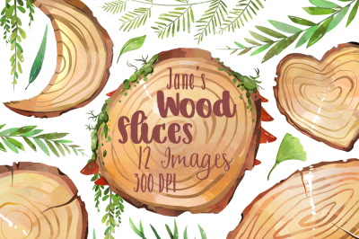 Watercolor Wood Slices Clipart