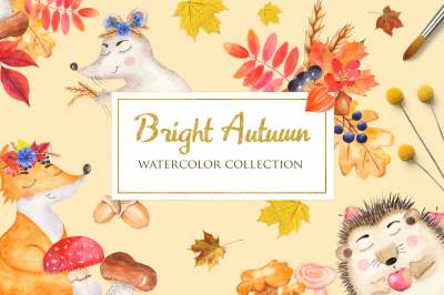Bright autumn and animals. Watercolor clipart
