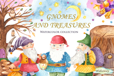 Gnomes and treasures. Watercolor.