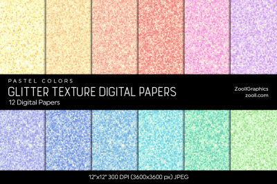 Glitter Digital Papers – Pastel Colors