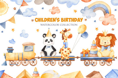 Childrens birthday. Watercolor set