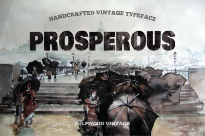Pulpwood font vintage typeface with prosperous cover
