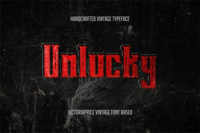 Unlucky covered victoriaprice vintage font