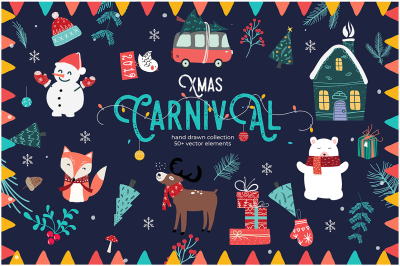 Xmas Carnival, Hand Drawn Vector Graphics