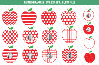 Apple SVG,DXF, clipart, Teacher svg, Monogram Cutting files