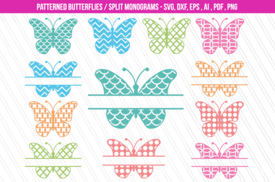 Butterfly SVG/DXF cutting files, Patterned butterflies clipart