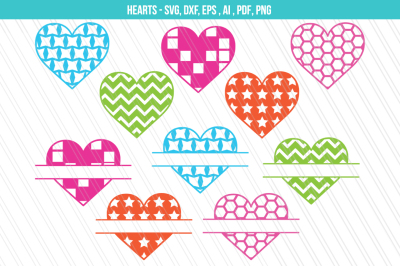 Valentine SVG, Hearts Svg/Dxf, Heart split monogram svg