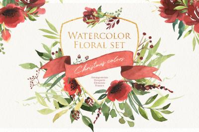 Floral set. Christmas color