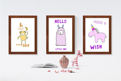 Kids' Room typeface with Outline and Solid versions and extra graphics