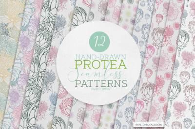 Mini Set of Hand-drawn Protea Seamless Patterns