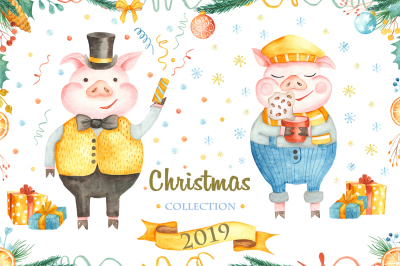 Christmas collection 2019. Watercolor