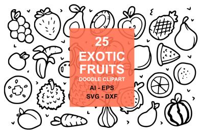 25 Exotic Fruit Doodles