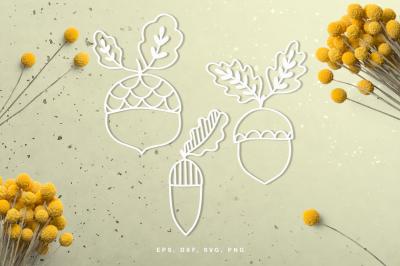 Fall acorn set digital cut file