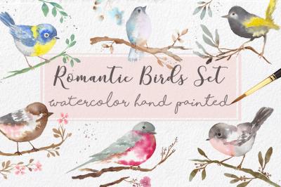 Watercolor Romantic Birds Clipart handmade