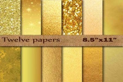 "Gold Foil Digital Paper 8.5"" x 11"""