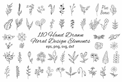 110 Hand drawn Floral Design Elements
