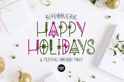 HAPPY HOLIDAYS Festive Christmas Font