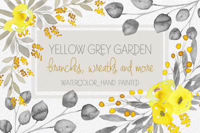 Yellow & Grey Flowers hand painted