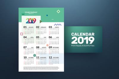 Flat Bright 2019 Calendar Template