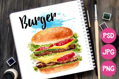 Fast food. Burger watercolor