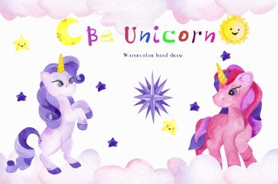 Be Unicorn. Watercolor illustration