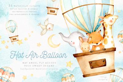 Hot Air Balloon Watercolor Clipart