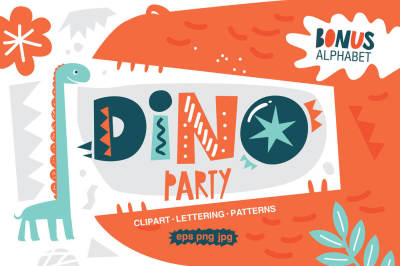 Dino party. Graphic set