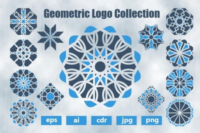 Blue logos templates set