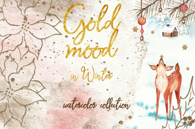 Gold mood in winter. Christmas watercolor collection