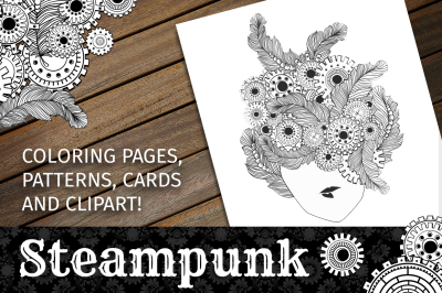 Steampunk Clipart + Coloring Pages!