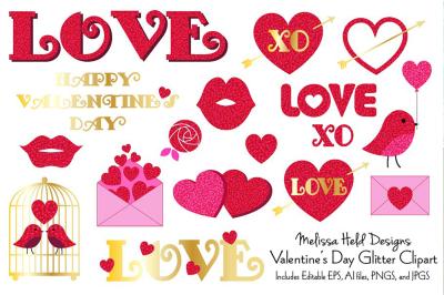 Valentine's Day Glitter Clipart