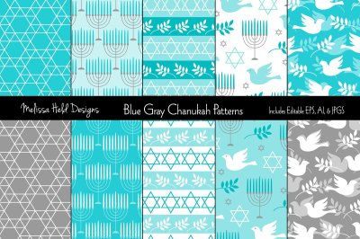Blue Gray Hanukkah Patterns