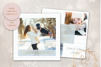 PSD Christmas Photo Card Template #1