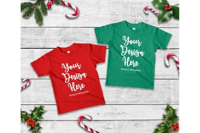 Two Matching Christmas Kids Red and Kelly Green Shirts Mock Up