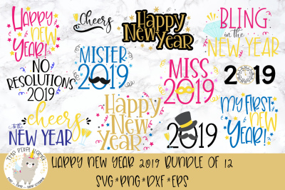 New Year 2019 Bundle 12 SVG Cut Files